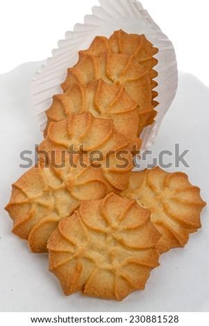 Fresh shortbread cookies on white background - stock photo