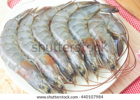 fresh shrimp ready for cooking food, seafood material ingredient - stock photo