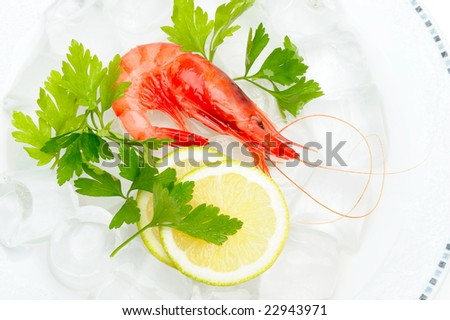fresh shrimp with lemon on ice