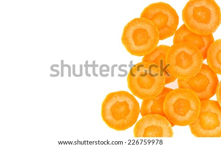 Fresh slice carrot isolated on white backgroundb - stock photo