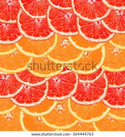 Fresh slice of grapefruit and orange such as fruit background