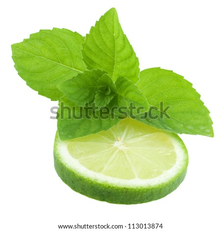 Fresh slice of lime with mint isolated on a white background - stock photo