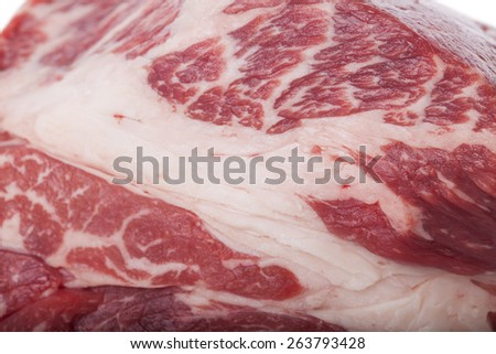 Fresh Slice of Protein Rich Raw Beef Meat on Top of the Table on White Background