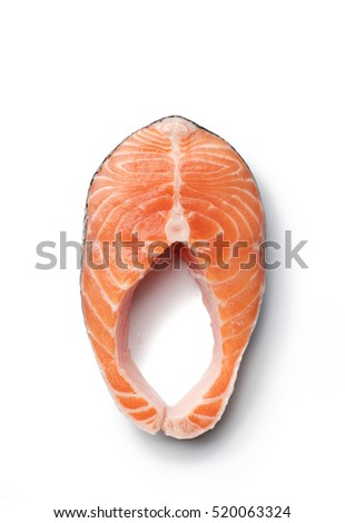 Fresh slice of salmon seafood on white background