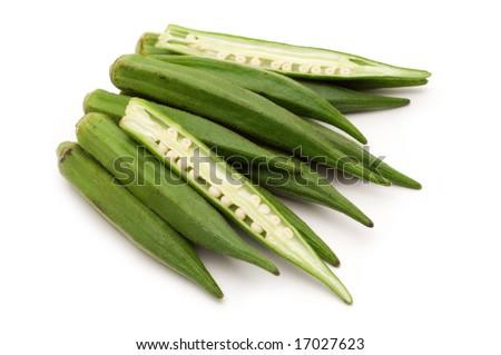 fresh slice okra on white background - stock photo