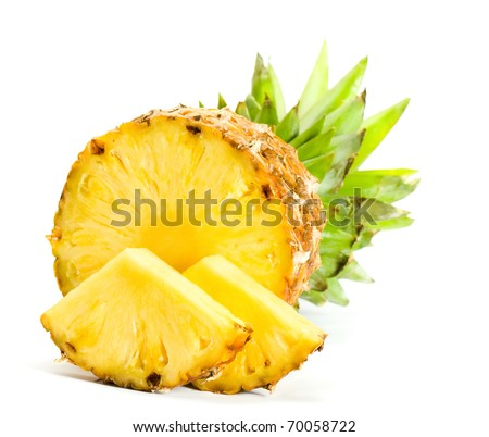 Fresh slice pineapple on white background - stock photo