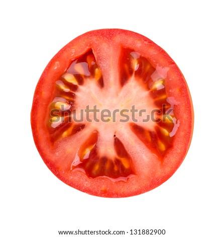 Fresh slice tomato on white background - stock photo