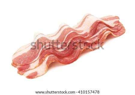 Fresh sliced bacon on white background - stock photo