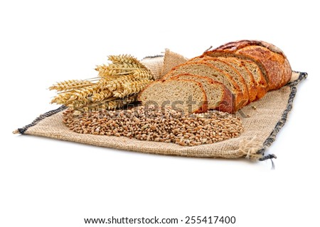 fresh sliced bread   on the white background - stock photo