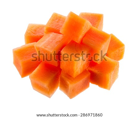 Fresh sliced carrot. Cubes isolated on white - stock photo