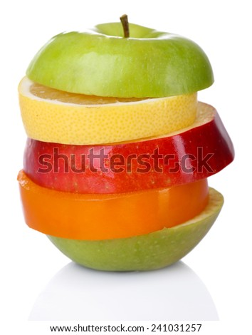 Fresh sliced fruit isolated on white