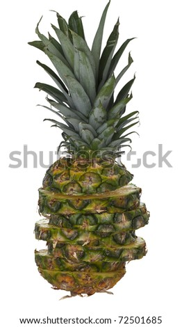 Fresh sliced pineapple against white background