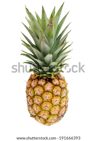 Fresh sliced pineapple isolated on white background