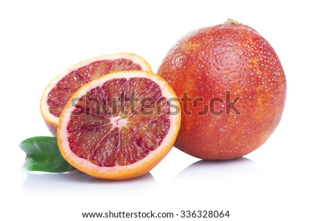 Fresh sliced tropical bloody oranges isolated on white background