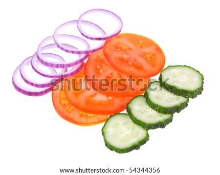 Fresh sliced vegetables isolated on white background - stock photo
