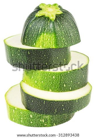 Fresh slised zucchini isolated on white background. File contains a clipping path. - stock photo