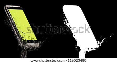 Fresh smartphone! 3D-model of the mobile phone with sensor-screen, poured by water. Isolated on the black. With white mask. - stock photo