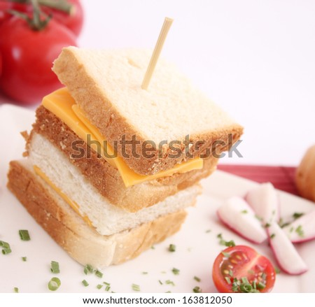 fresh snack of bread and cheese
