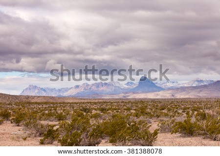 Fresh snow in distant Chisos Mountains, landscape in Chihuahuan Desert of Big Bend National Park, Texas, US.