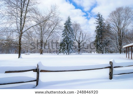 Fresh snow in this park in Central New Jersey. - stock photo