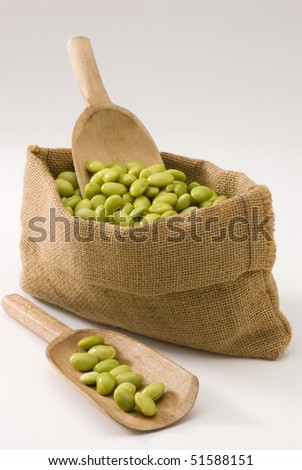 Fresh soy beans in a sack.White background.