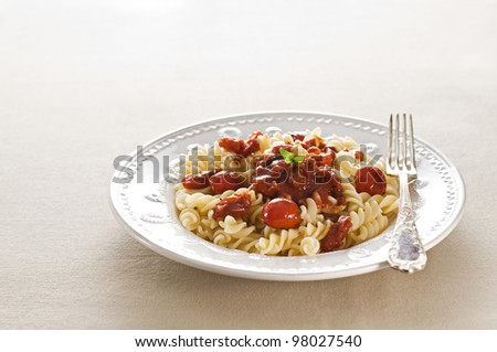 Fresh spaghetti with tomato sauce close up - stock photo
