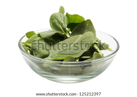 Fresh spinach in a bowl (Clipping path included)
