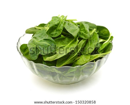 fresh spinach leaves in bowl, isolated on white
