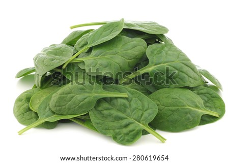 fresh spinach leaves on a white background - stock photo
