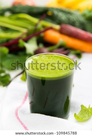 Fresh Spinach or Kale Juice - stock photo