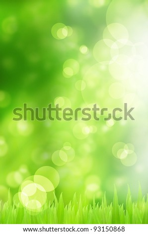 Fresh Spring bokeh and grass background - stock photo