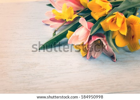 Fresh spring flowers on wooden background. Selective focus. Spring, Easter background. - stock photo