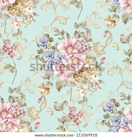 Fresh spring flowers seamless pattern - For easy making seamless pattern use it for filling any contours - stock photo