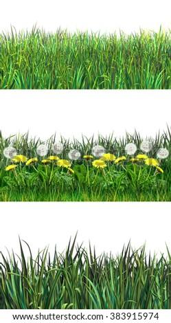 Artdesign illustrations green grass set on shutterstock fresh spring green grass different stripes on white background grassland landscape clip art illustration voltagebd Choice Image