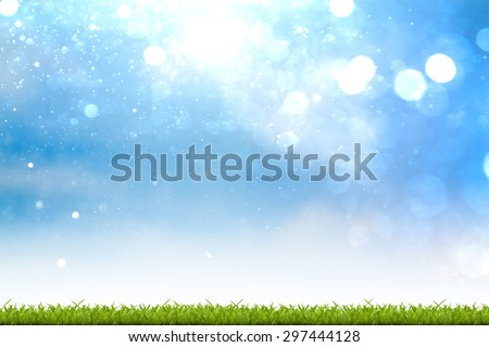 Fresh spring green grass with bokeh background - stock photo