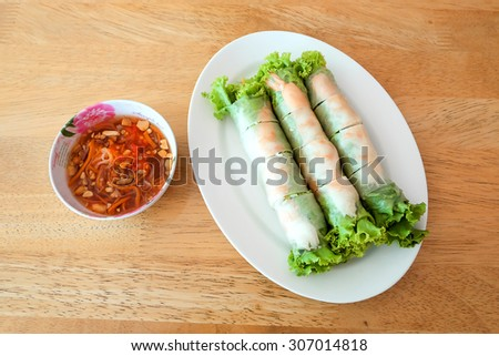 Fresh Spring roll food with vegetable - stock photo