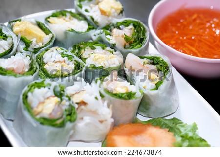 Fresh spring rolls - stock photo