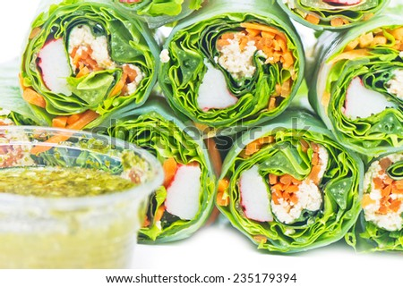 Fresh Spring Rolls, Vietnamese Food style on white background - stock photo