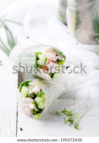 Fresh spring rolls with cucumbers, green onion, mint, coriander and crab. shrimp meat on a white background - stock photo