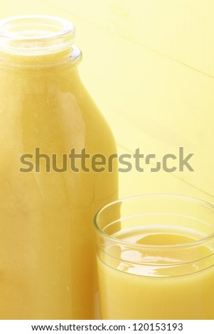 Fresh squeezed orange juice made by extraction from the most sweet and delicious fresh fruit.