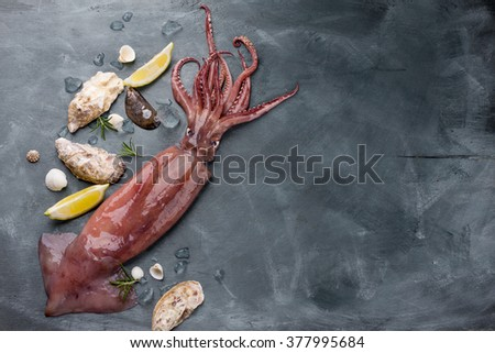 Fresh squid with lemon and oyster wooden background, selective focus - stock photo