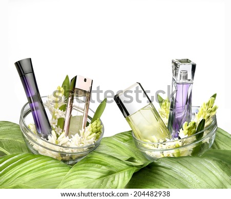 Fresh still life of fragrances on white background - stock photo