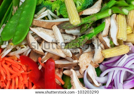 Fresh stir fry vegetables. Snow peas, baby corn, purple onion, red pepper, carrot, broccoli, asparagus and bean sprouts are colorful ingredients for healthy Asian  or vegetarian recipes. - stock photo