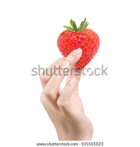 Fresh strawberries Heart  in hands isolated white background