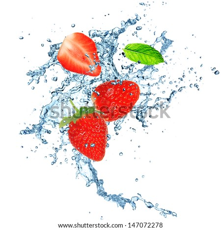 Fresh strawberries in water splash. Isolated on white background. - stock photo