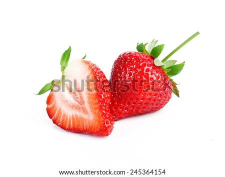 Fresh strawberries isolated on a white background - stock photo