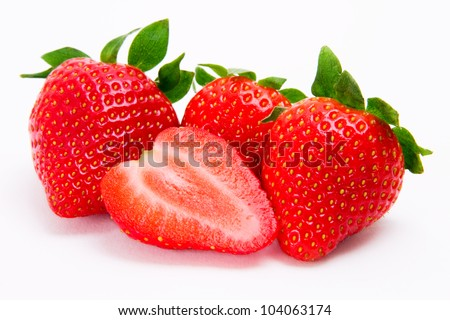 Fresh strawberries isolated on white background. - stock photo