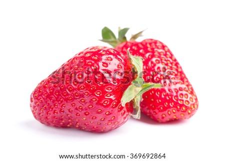 Fresh strawberries isolated on white background - stock photo