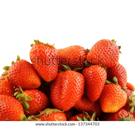Fresh strawberries isolated, with room for text