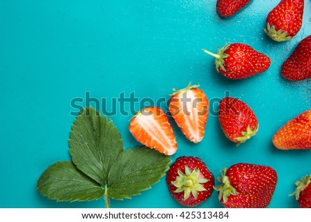 fresh strawberries on a bright background. Food Frame Background with space for advertising text. soft selective focus Photo - stock photo